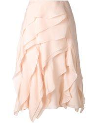 Chloé Beige Ruffled Skirt - Lyst