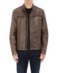 John Varvatos - Leather Cafe Racer Jacket - Lyst