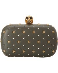 Alexander McQueen Studded Classic Skull Box Clutch Military - Lyst