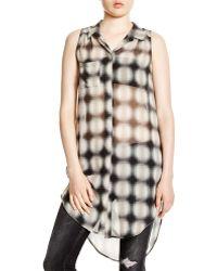Lush - Sleeveless Plaid Shirt - Lyst