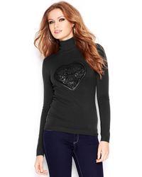 Guess Longsleeve Printed Turtleneck Sweater - Lyst