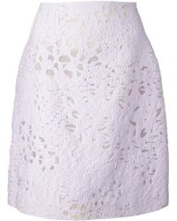 Giambattista Valli Cut-Out Floral Skirt - Lyst