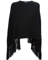 Dolce & Gabbana Honeycomb Knit Poncho - Black