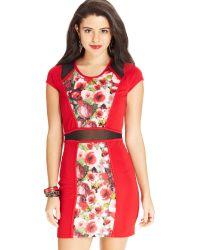 Material Girl Juniors Cap-sleeve Illusion Bodycon Dress - Lyst