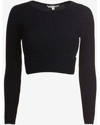 Jonathan Simkhai Exclusive Long Sleeve Cut Out Rib Knit Crop Top - Lyst