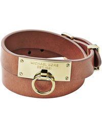 Michael Kors Leather Wrap Bracelet Tan - Lyst