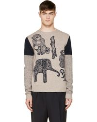 Paul Smith Beige and Navy Animal Knit Sweater - Lyst