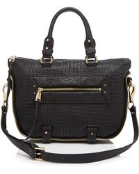 She + Lo Rise Above Perforated Leather Mini Satchel - Black