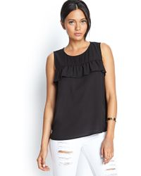 Forever 21 Ruffle Trim Woven Top - Lyst
