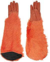 Kenzo Leather and Shearling Gloves - Lyst