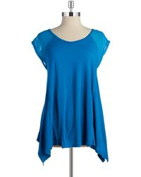 Two By Vince Camuto Sheer Panel Top - Blue