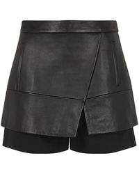 Tibi Layered Leather Shorts - Lyst