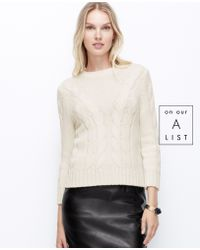 Ann Taylor Cropped Cable Sweater - Lyst