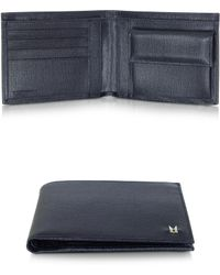 Moreschi - Navy Blue Leather Billfold Wallet W/coin Pocket - Lyst