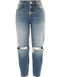 River Island Mid Wash Ripped Knee Ultimate Boyfriend Jeans - Lyst