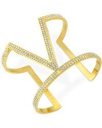 Vince Camuto - Gold-Tone All-Over Pavé V Cuff Bracelet - Lyst