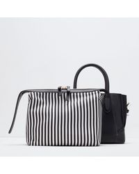 Zara Gussetted Shopper Bag - Lyst