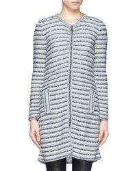 Armani Stripe Tweed Knit Long Cardigan - Lyst