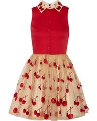Alice + Olivia Cherry Pouf Cotton-Blend And Tulle Dress - Lyst