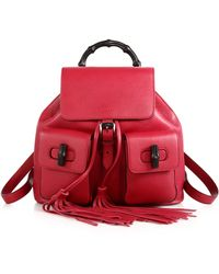 Gucci Bamboo Sac Leather Backpack red - Lyst