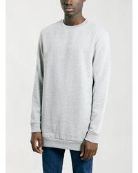 Topman Grey Longer Length Sweatshirt - Lyst