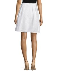 Phoebe - Scuba-Banded Flared Lace Skirt - Lyst