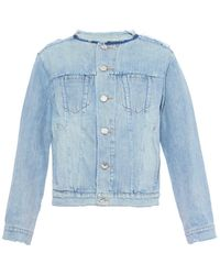 Marc By Marc Jacobs Icon Collarless Denim Jacket - Lyst