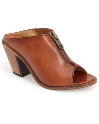 Frye 'Izzy' Peep Toe Leather Mule - Lyst