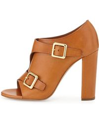 Chloé Double Monk Strap Leather Bootie - Brown