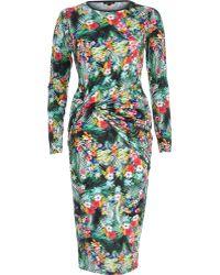 River Island Green Tropical Print Twist Bodycon Dress - Lyst