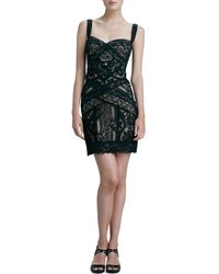 Nicole Miller Fitted Lace Cocktail Dress - Lyst