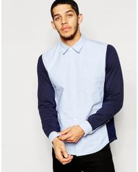 Izzue - Colour Block Shirt With Jersey Sleeve - Lyst