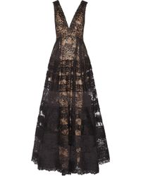 Elie Saab Tiered Lace Gown - Lyst