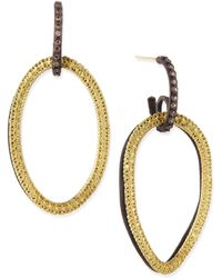 Armenta Midnight & Yellow Gold Circle Link Drop Earrings With Diamonds - Lyst