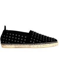 Saint Laurent Studded Canvas Espadrilles - Lyst
