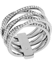 Michael Kors Pavé Criss Cross Ring silver - Lyst