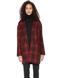 Just Female Wood Kimono Red Check - Lyst