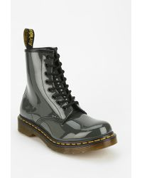 Dr. Martens Gray Patent Boot - Lyst