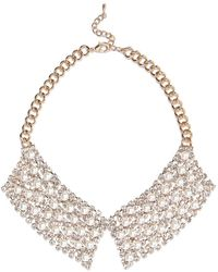 River Island Diamante and Pearl Collar Necklace - Lyst