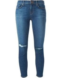 J Brand Cropped Rip Detail Jeans - Lyst