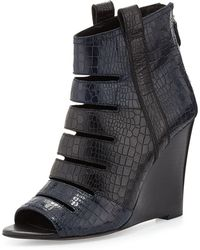 Rebecca Minkoff Sonny Embossed Wedge Bootie - Black