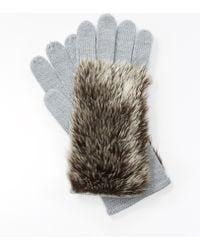 Ann Taylor Faux Fur Knit Gloves - Metallic