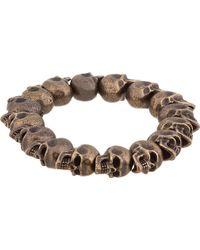 Alexander McQueen Bronze Skull Bead Bracelet - Lyst