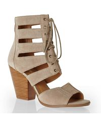 Nine West Taupe Highland Lace-Up Sandals - Lyst