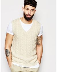 ASOS Cable Knit Sleeveless Sweater - White