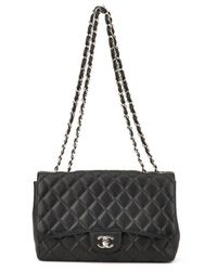 Chanel Authentic Pre-owned Black Quilted Lambskin Leather Medium Flap Bag - Lyst