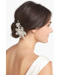 Halo - 'ferrara' Crystal Flower Comb - Metallic - Lyst