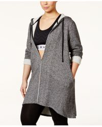 Jessica Simpson The Warmup Plus Size Long Hooded Jacket - Gray