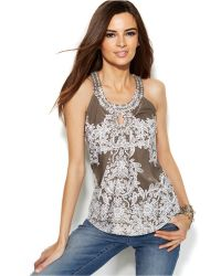 Inc International Concepts Printed Embellished Keyhole Top - Lyst