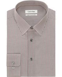 Calvin Klein Regular Fit Geneva Graphic Check Dress Shirt - Lyst